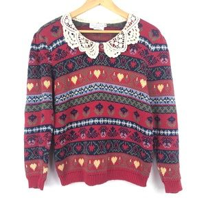 VINTAGE 90's Adorable Knit Sweater Lace Collar